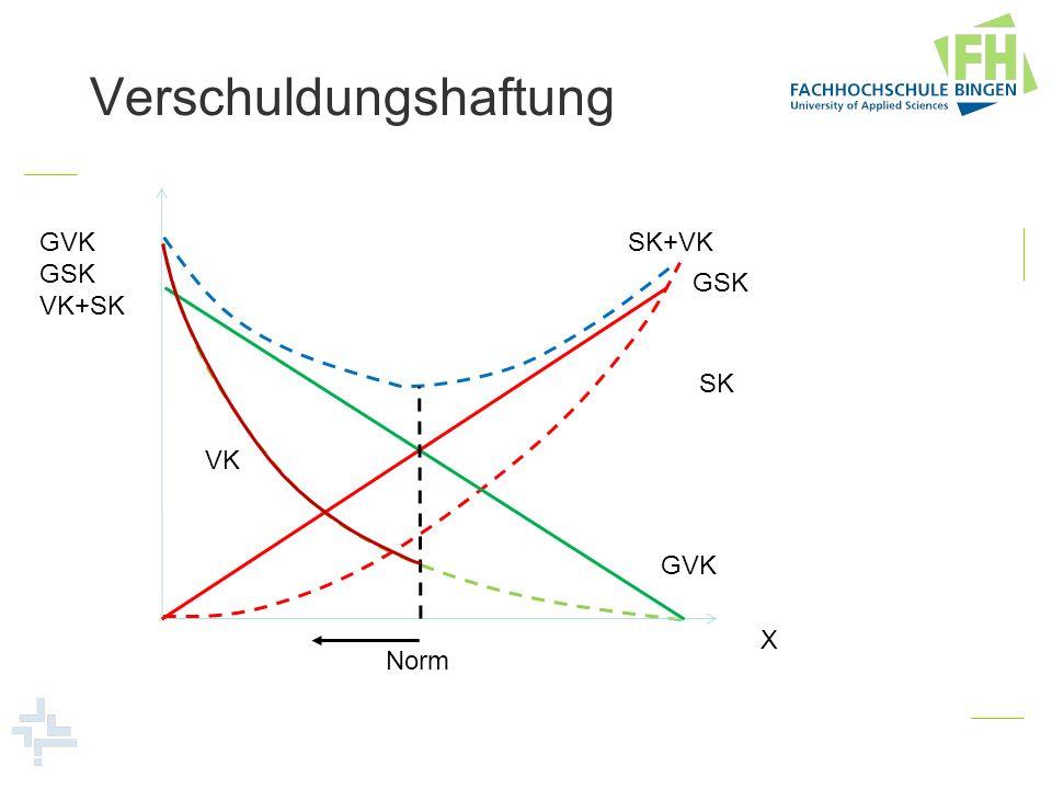 Verschuldungshaftung GVK GSK VK+SK X GVK GSK SK+VK SK Norm VK