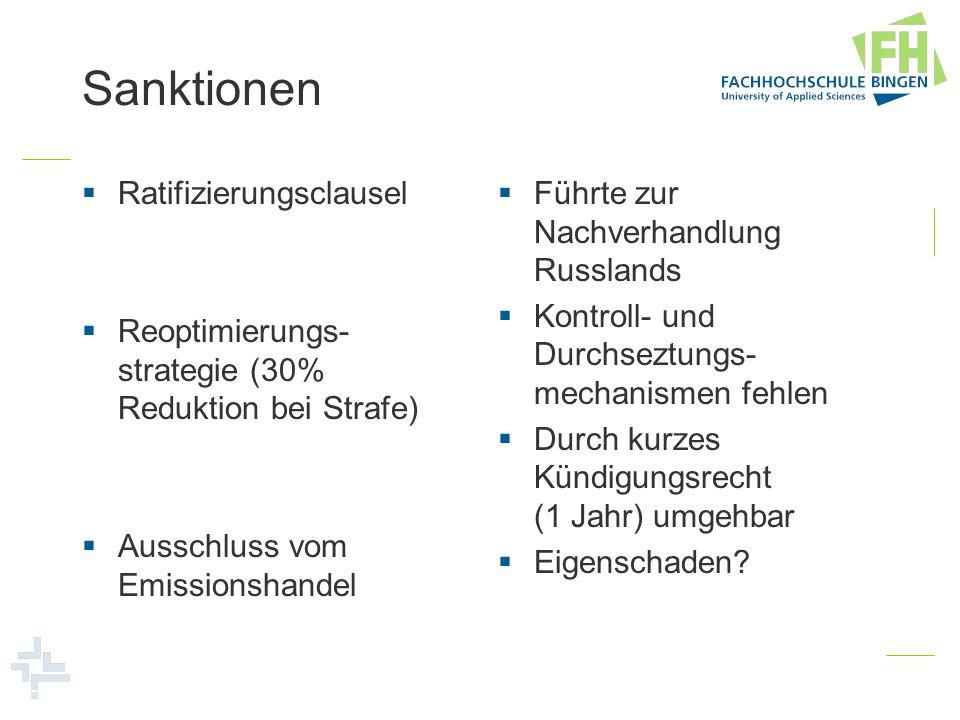 Sanktionen Ratifizierungsclausel Reoptimierungs- strategie (30% Reduktion bei Strafe) Ausschluss vom Emissionshandel Führte zur Nachverhandlung Russla