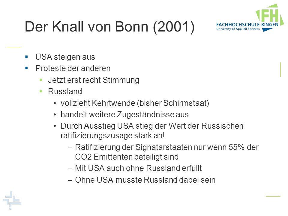 Der Knall von Bonn (2001) USA steigen aus Proteste der anderen Jetzt erst recht Stimmung Russland vollzieht Kehrtwende (bisher Schirmstaat) handelt we