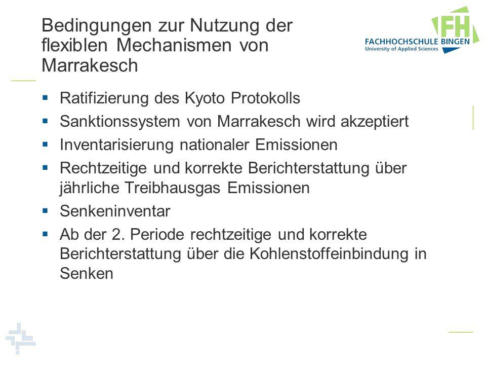 Bedingungen zur Nutzung der flexiblen Mechanismen von Marrakesch Ratifizierung des Kyoto Protokolls Sanktionssystem von Marrakesch wird akzeptiert Inv