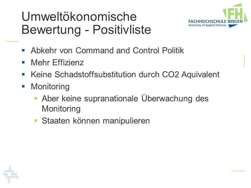 Umweltökonomische Bewertung - Positivliste Abkehr von Command and Control Politik Mehr Effizienz Keine Schadstoffsubstitution durch CO2 Aquivalent Mon