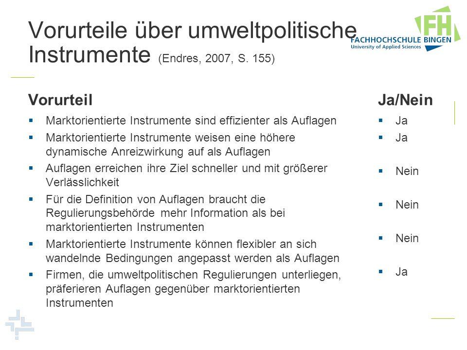 Vorurteile über umweltpolitische Instrumente (Endres, 2007, S. 155) Vorurteil Marktorientierte Instrumente sind effizienter als Auflagen Marktorientie