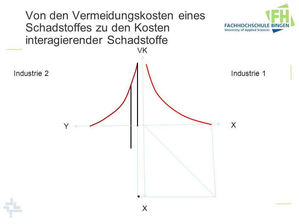 Von den Vermeidungskosten eines Schadstoffes zu den Kosten interagierender Schadstoffe Industrie 1 Industrie 2 VK X Y X.