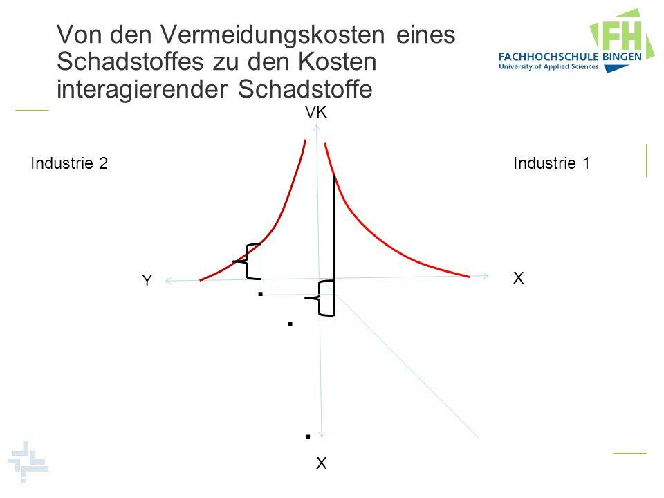 Von den Vermeidungskosten eines Schadstoffes zu den Kosten interagierender Schadstoffe Industrie 1 Industrie 2 VK X Y X...
