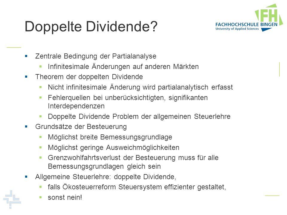 Doppelte Dividende? Zentrale Bedingung der Partialanalyse Infinitesimale Änderungen auf anderen Märkten Theorem der doppelten Dividende Nicht infinite