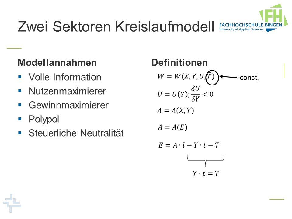 Zwei Sektoren Kreislaufmodell Totale Differentiale Wohlfahrt Umweltbelastung Nachfrage Y Nachfrage X Produktionsfunktion Faktorangebot Wertgrenzprodukt Y Wertgrenzprodukt X Einkommen Steuerneutralität