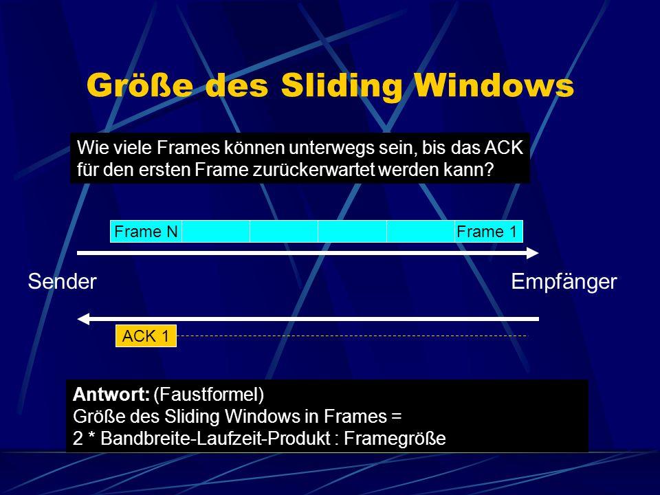 Größe des Sliding Windows Wie viele Frames können unterwegs sein, bis das ACK für den ersten Frame zurückerwartet werden kann.