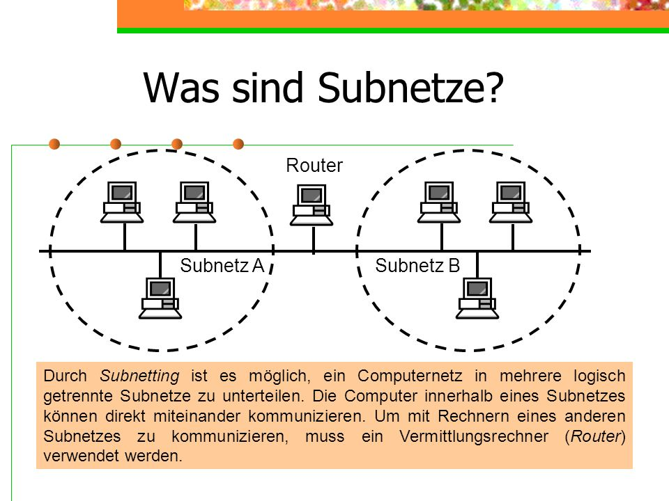Was sind Subnetze? Durch Subnetting ist es möglich, ein Computernetz in mehrere logisch getrennte Subnetze zu unterteilen. Die Computer innerhalb eine