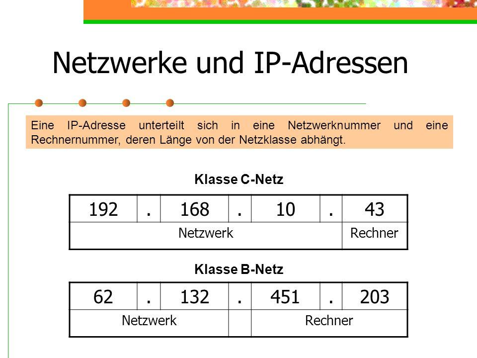 Netzwerke und IP-Adressen Eine IP-Adresse unterteilt sich in eine Netzwerknummer und eine Rechnernummer, deren Länge von der Netzklasse abhängt. 192.1