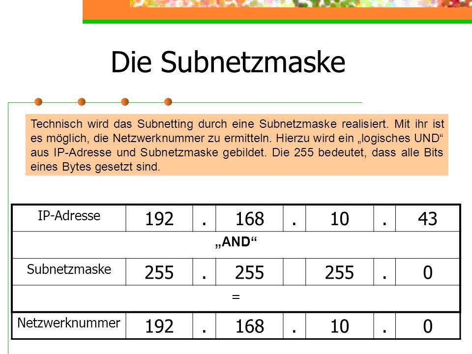 Die Subnetzmaske Technisch wird das Subnetting durch eine Subnetzmaske realisiert. Mit ihr ist es möglich, die Netzwerknummer zu ermitteln. Hierzu wir