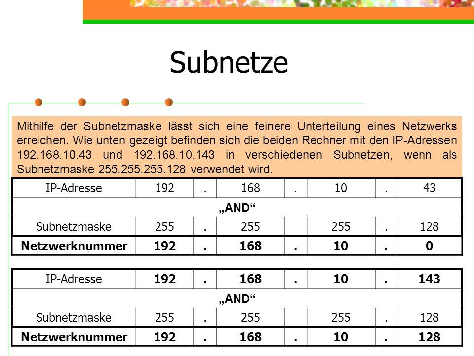 Prinzip des Subnetting 11111111111111111111111100000000 255 0 11111111111111111111111110000000 128 Übliche Subnetzmaske für Klasse C-Netze: Aufteilung des Klasse C-Netzes in zwei Subnetze mit Rechner- Adressen von 0 bis 127 und 128 bis 255.