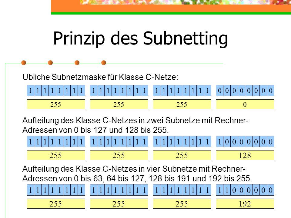 Prinzip des Subnetting 11111111111111111111111100000000 255 0 11111111111111111111111110000000 128 Übliche Subnetzmaske für Klasse C-Netze: Aufteilung