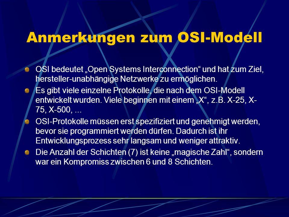 Anmerkungen zum OSI-Modell OSI bedeutet Open Systems Interconnection und hat zum Ziel, hersteller-unabhängige Netzwerke zu ermöglichen. Es gibt viele