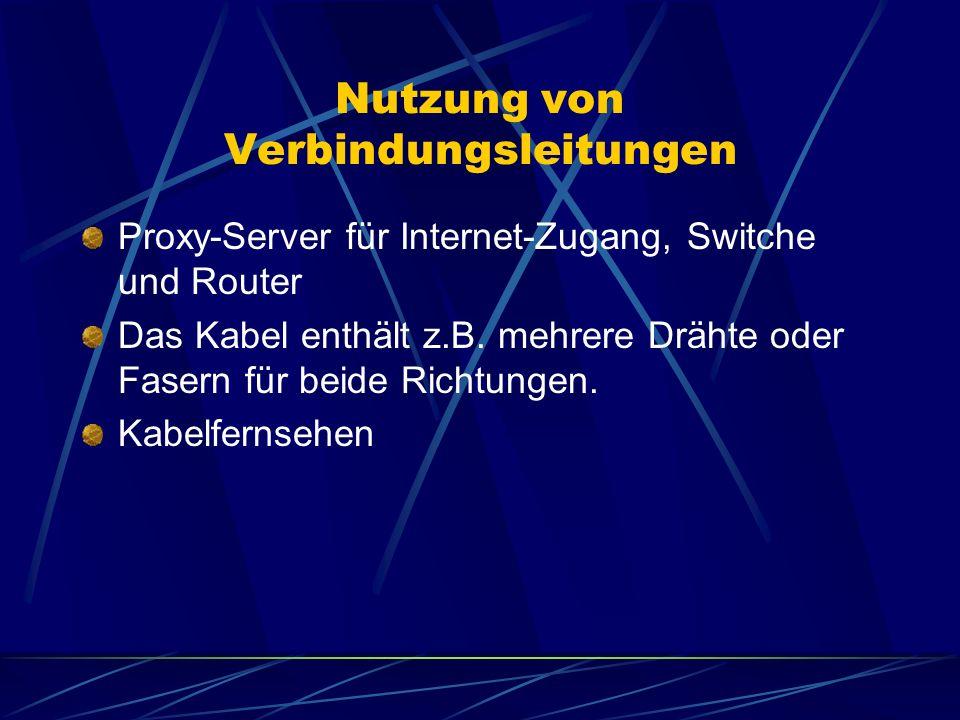 Nutzung von Verbindungsleitungen Proxy-Server für Internet-Zugang, Switche und Router Das Kabel enthält z.B. mehrere Drähte oder Fasern für beide Rich