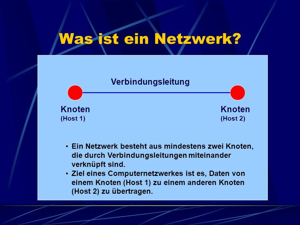 Was ist ein Netzwerk? Knoten (Host 1) Knoten (Host 2) Verbindungsleitung Ein Netzwerk besteht aus mindestens zwei Knoten, die durch Verbindungsleitung