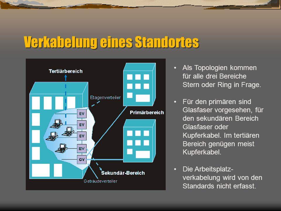 Verkabelung eines Standortes Als Topologien kommen für alle drei Bereiche Stern oder Ring in Frage. Für den primären sind Glasfaser vorgesehen, für de