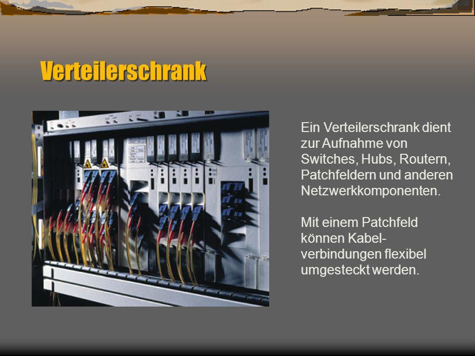 Verteilerschrank Ein Verteilerschrank dient zur Aufnahme von Switches, Hubs, Routern, Patchfeldern und anderen Netzwerkkomponenten. Mit einem Patchfel