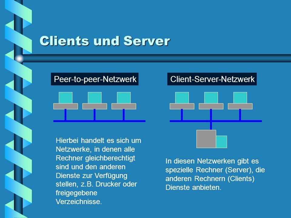 Clients und Server Hierbei handelt es sich um Netzwerke, in denen alle Rechner gleichberechtigt sind und den anderen Dienste zur Verfügung stellen, z.