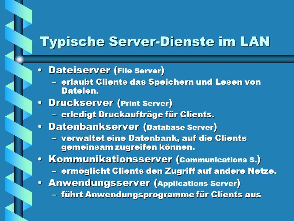 Typische Server-Dienste im LAN Dateiserver ()Dateiserver ( File Server ) –erlaubt Clients das Speichern und Lesen von Dateien. Druckserver ()Druckserv