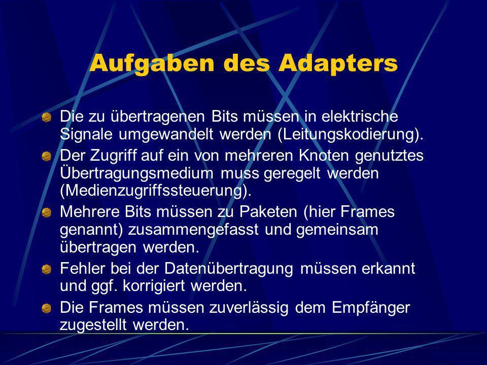 Aufgaben des Adapters Die zu übertragenen Bits müssen in elektrische Signale umgewandelt werden (Leitungskodierung). Der Zugriff auf ein von mehreren