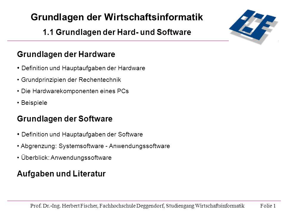 Grundlagen der Wirtschaftsinformatik 1.1 Grundlagen der Hard- und Software Prof. Dr.-Ing. Herbert Fischer, Fachhochschule Deggendorf, Studiengang Wirt