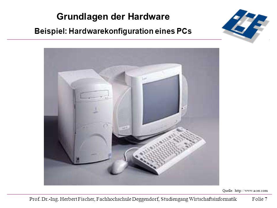 Grundlagen der Hardware Beispiel: Hardwarekonfiguration eines PCs Prof. Dr.-Ing. Herbert Fischer, Fachhochschule Deggendorf, Studiengang Wirtschaftsin