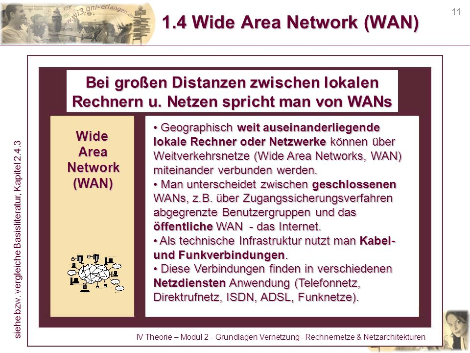 11 1.4 Wide Area Network (WAN) Bei großen Distanzen zwischen lokalen Rechnern u. Netzen spricht man von WANs Geographisch weit auseinanderliegende lok