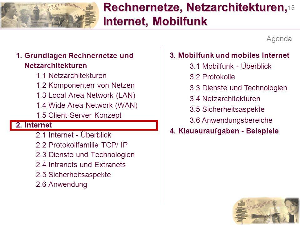 15 Rechnernetze, Netzarchitekturen, Internet, Mobilfunk 1. Grundlagen Rechnernetze und Netzarchitekturen 1.1 Netzarchitekturen 1.2 Komponenten von Net