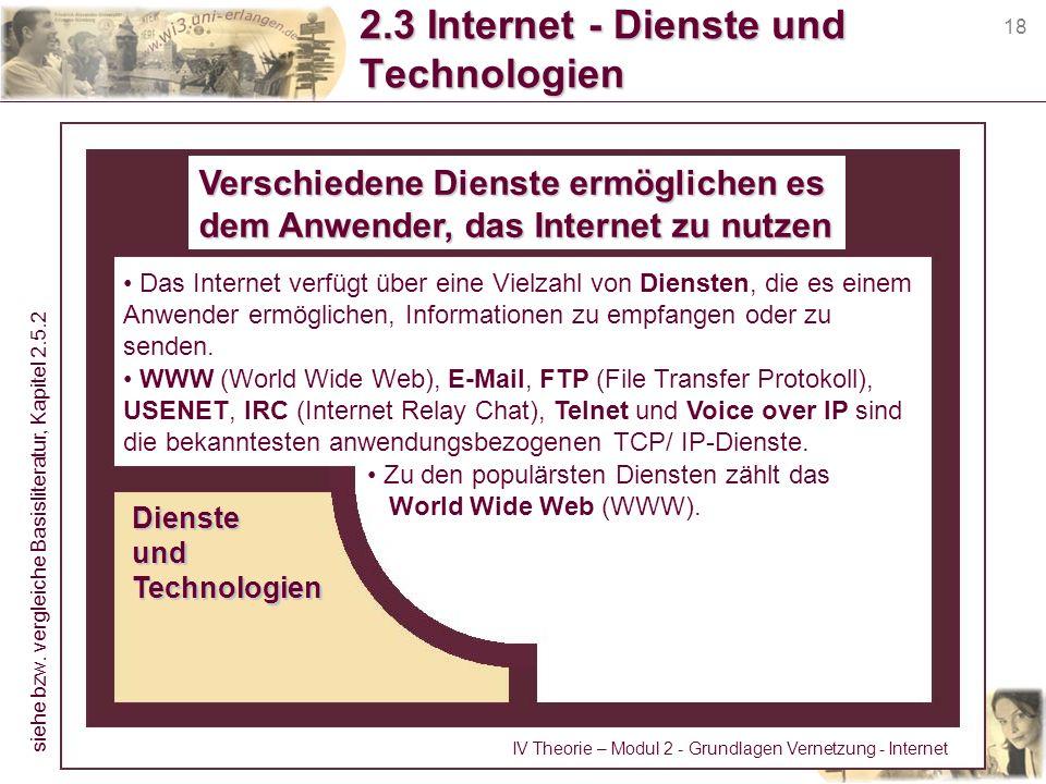 18 2.3 Internet - Dienste und Technologien Verschiedene Dienste ermöglichen es dem Anwender, das Internet zu nutzen Das Internet verfügt über eine Vie