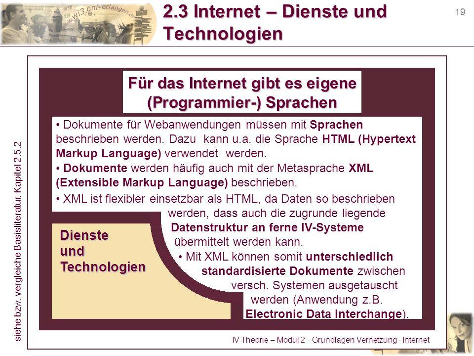 19 2.3 Internet – Dienste und Technologien Für das Internet gibt es eigene (Programmier-) Sprachen Dokumente für Webanwendungen müssen mit Sprachen be