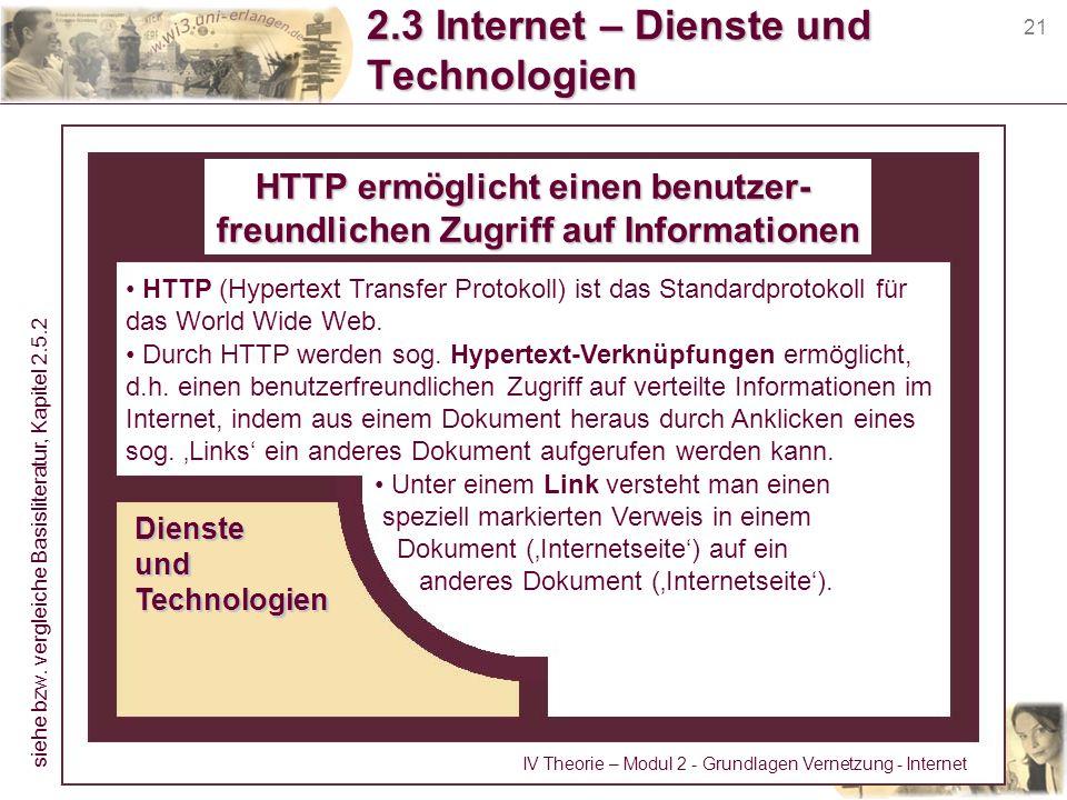 21 2.3 Internet – Dienste und Technologien HTTP (Hypertext Transfer Protokoll) ist das Standardprotokoll für das World Wide Web. Durch HTTP werden sog