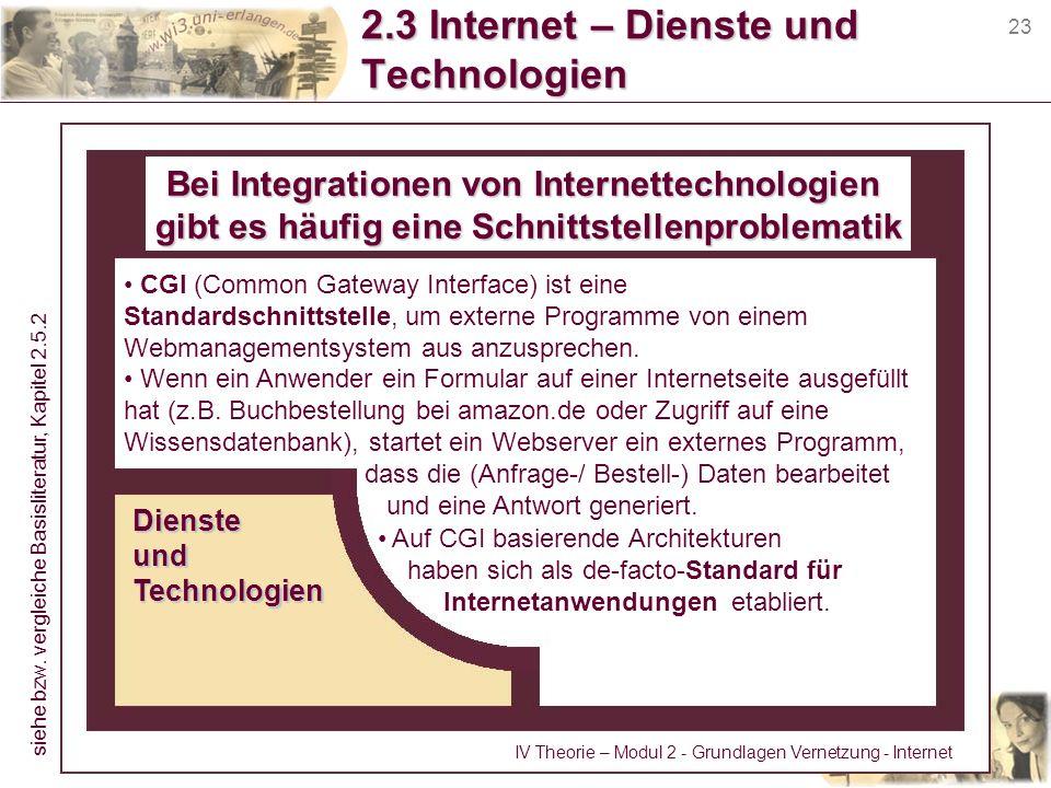 23 2.3 Internet – Dienste und Technologien CGI (Common Gateway Interface) ist eine Standardschnittstelle, um externe Programme von einem Webmanagement