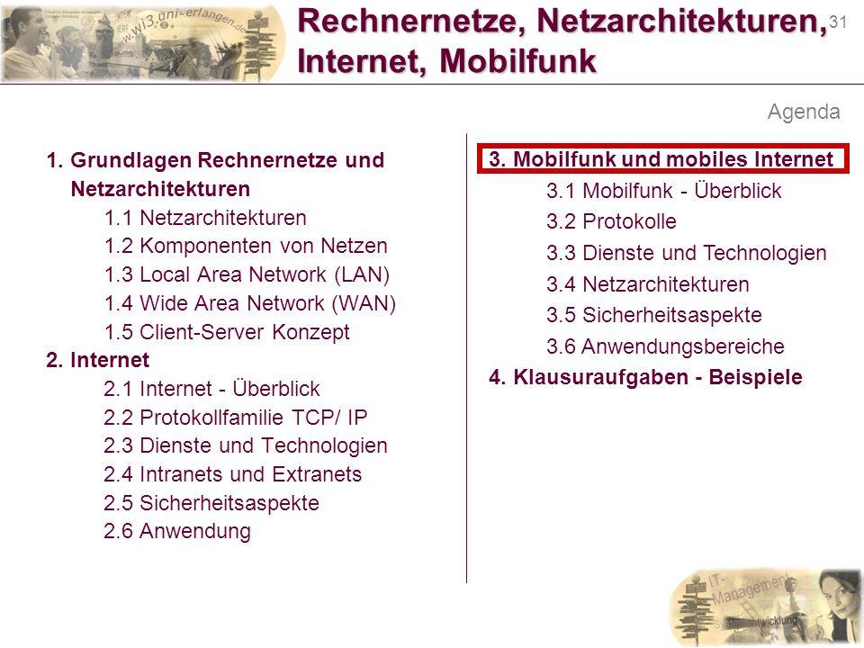 31 Rechnernetze, Netzarchitekturen, Internet, Mobilfunk 1. Grundlagen Rechnernetze und Netzarchitekturen 1.1 Netzarchitekturen 1.2 Komponenten von Net