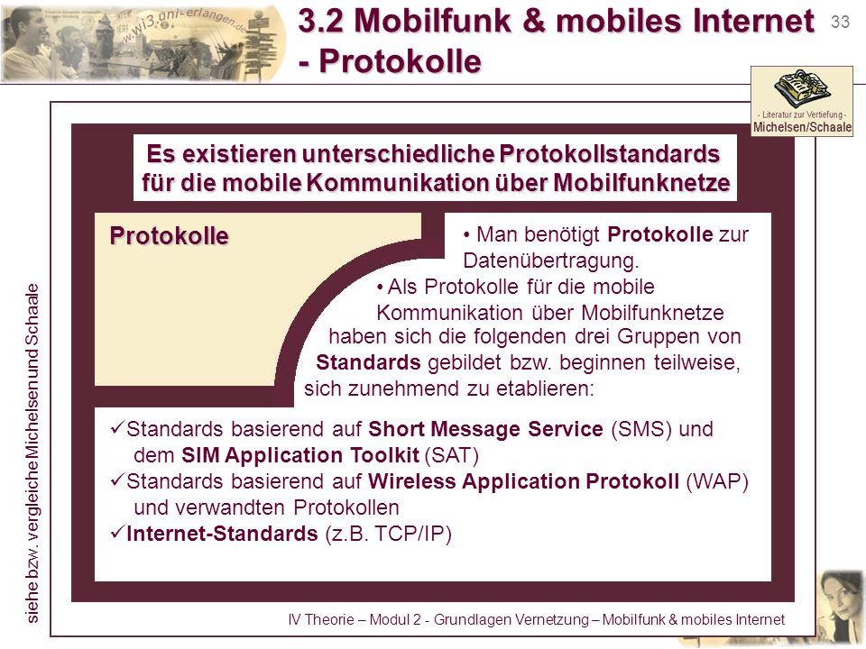 33 3.2 Mobilfunk & mobiles Internet - Protokolle Es existieren unterschiedliche Protokollstandards für die mobile Kommunikation über Mobilfunknetze Ma