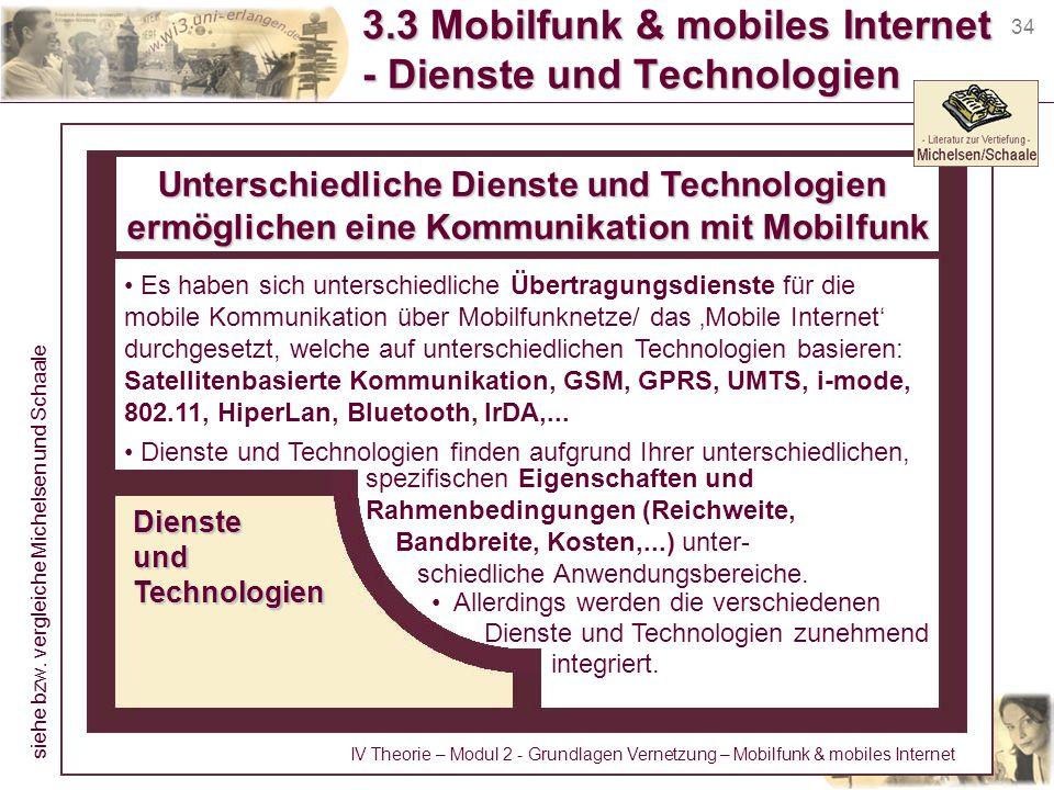34 3.3 Mobilfunk & mobiles Internet - Dienste und Technologien Unterschiedliche Dienste und Technologien ermöglichen eine Kommunikation mit Mobilfunk