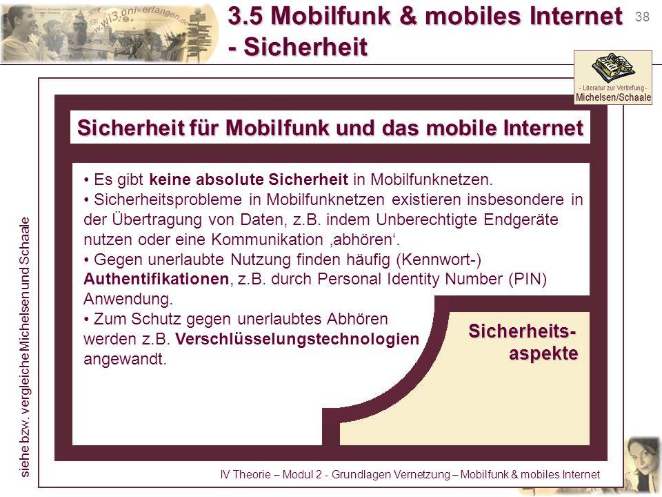 38 3.5 Mobilfunk & mobiles Internet - Sicherheit Sicherheit für Mobilfunk und das mobile Internet Sicherheits-aspekte Es gibt keine absolute Sicherhei