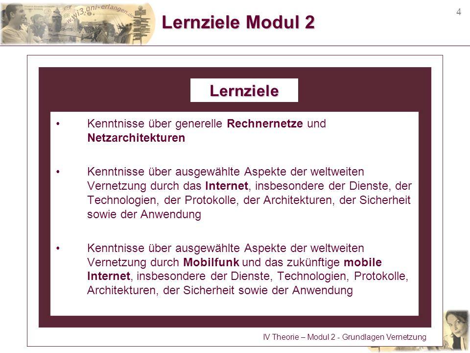 4 Lernziele Modul 2 Kenntnisse über generelle Rechnernetze und Netzarchitekturen Kenntnisse über ausgewählte Aspekte der weltweiten Vernetzung durch d