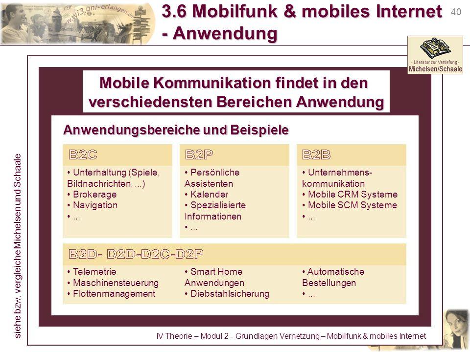 40 3.6 Mobilfunk & mobiles Internet - Anwendung Mobile Kommunikation findet in den verschiedensten Bereichen Anwendung Unterhaltung (Spiele, Bildnachr