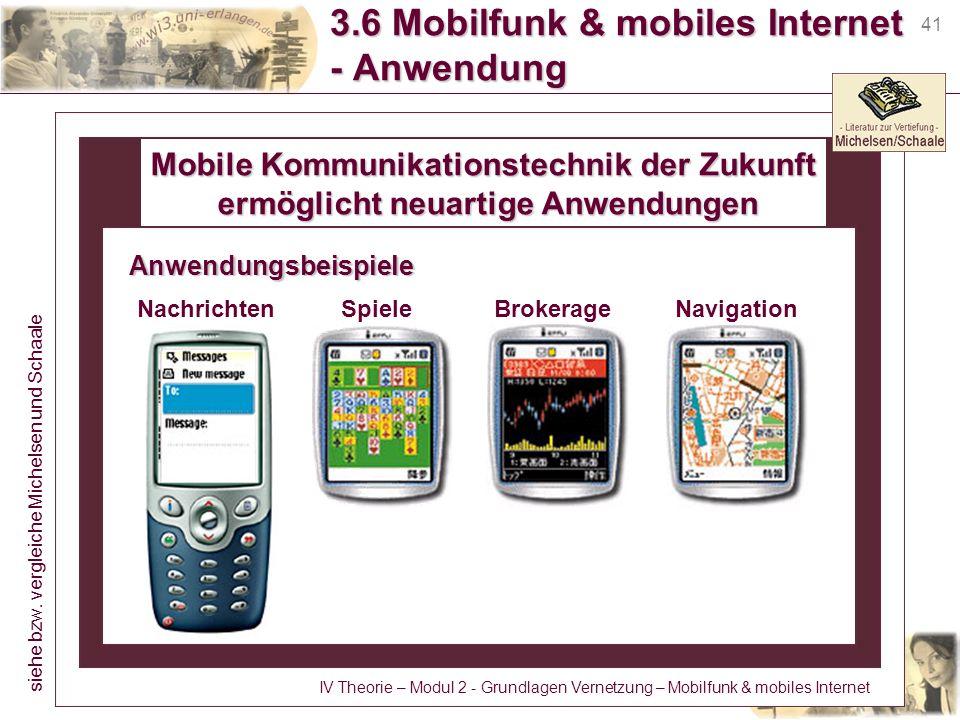 41 3.6 Mobilfunk & mobiles Internet - Anwendung Mobile Kommunikationstechnik der Zukunft ermöglicht neuartige Anwendungen ermöglicht neuartige Anwendu