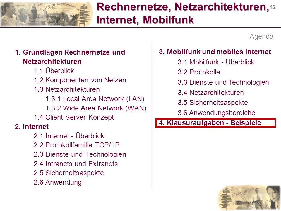 42 Rechnernetze, Netzarchitekturen, Internet, Mobilfunk 1. Grundlagen Rechnernetze und Netzarchitekturen 1.1 Überblick 1.2 Komponenten von Netzen 1.3