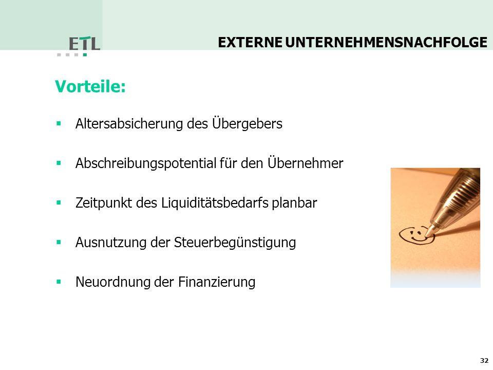 33 Nachfolger kommen häufig aus dem direkten Umfeld des Unternehmens EXTERNE UNTERNEHMENSNACHFOLGE