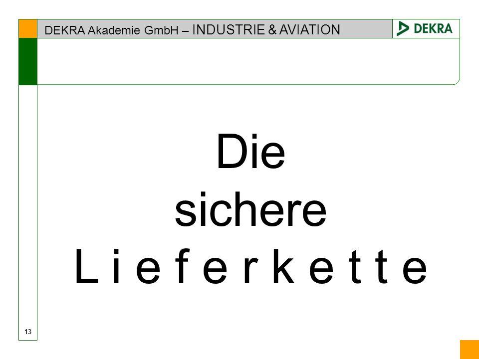 DEKRA Akademie GmbH – INDUSTRIE & AVIATION 13 Die sichere L i e f e r k e t t e