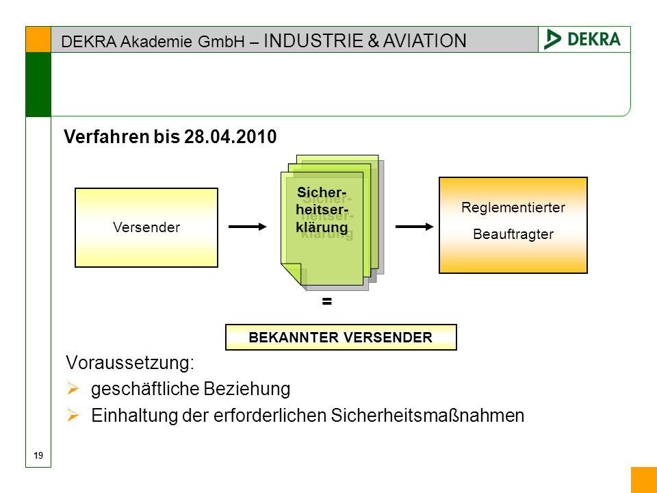 DEKRA Akademie GmbH – INDUSTRIE & AVIATION 19 Voraussetzung: geschäftliche Beziehung Einhaltung der erforderlichen Sicherheitsmaßnahmen Versender Regl