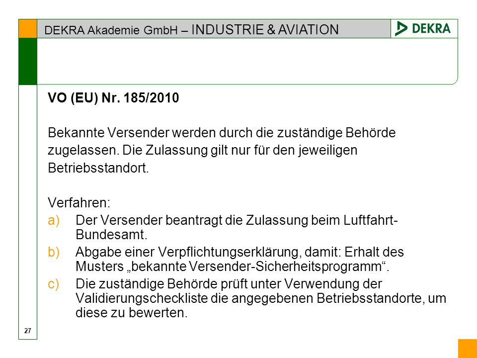 DEKRA Akademie GmbH – INDUSTRIE & AVIATION VO (EU) Nr.