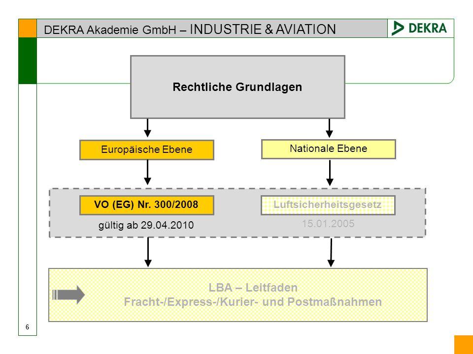 DEKRA Akademie GmbH – INDUSTRIE & AVIATION 6 Rechtliche Grundlagen Europäische Ebene LBA – Leitfaden Fracht-/Express-/Kurier- und Postmaßnahmen 15.01.