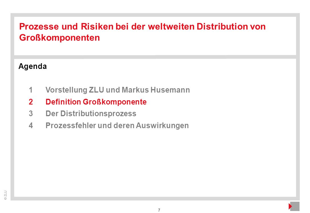 7 © ZLU Agenda 1Vorstellung ZLU und Markus Husemann 2Definition Großkomponente 3Der Distributionsprozess 4Prozessfehler und deren Auswirkungen Prozess