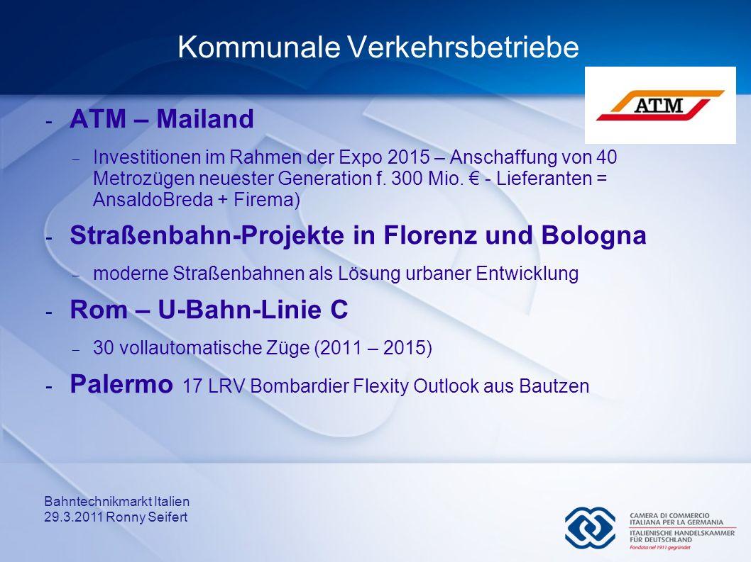 Bahntechnikmarkt Italien 29.3.2011 Ronny Seifert Kommunale Verkehrsbetriebe - ATM – Mailand Investitionen im Rahmen der Expo 2015 – Anschaffung von 40