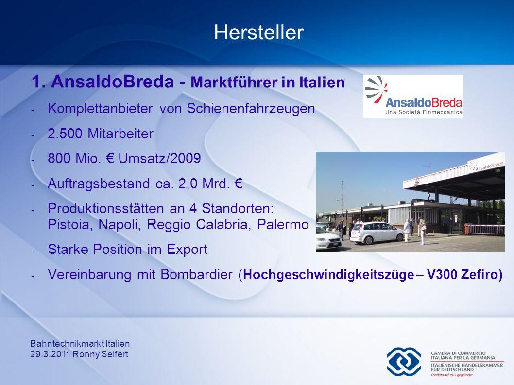 Bahntechnikmarkt Italien 29.3.2011 Ronny Seifert Hersteller 1. AnsaldoBreda - Marktführer in Italien - Komplettanbieter von Schienenfahrzeugen - 2.500