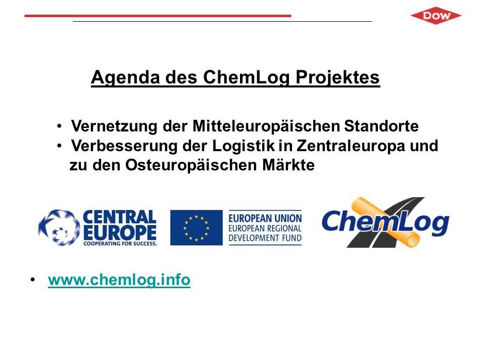 Agenda des ChemLog Projektes www.chemlog.info Vernetzung der Mitteleuropäischen Standorte Verbesserung der Logistik in Zentraleuropa und zu den Osteur