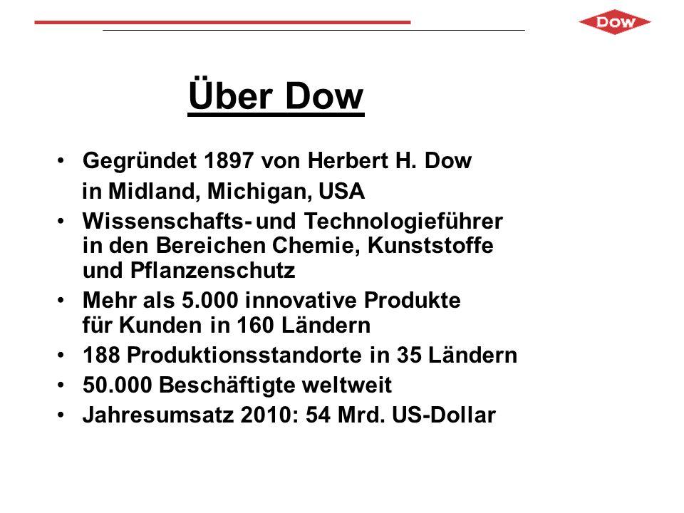 Über Dow Gegründet 1897 von Herbert H. Dow in Midland, Michigan, USA Wissenschafts- und Technologieführer in den Bereichen Chemie, Kunststoffe und Pfl